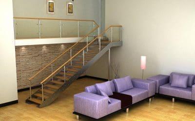 מדרגות נירוסטה שלוב עץ